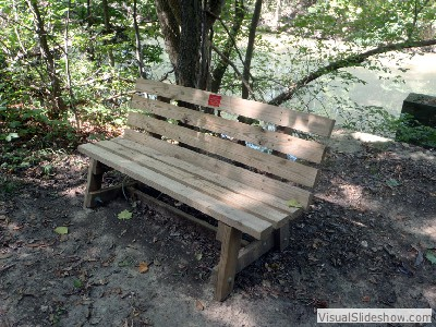 One of 10 benches by Alex Bowman along Auglaize River